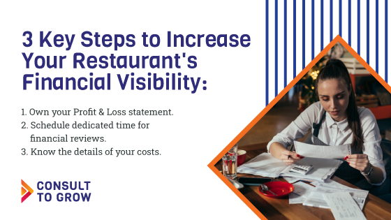 3 Key Steps to Increase Your Restaurant's Financial Visibility 1. Own your Profit & Loss statement.  2. Schedule dedicated time for financial reviews.  3. Know the details of your costs.